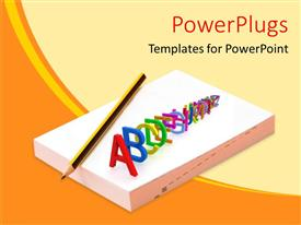 PowerPlugs: PowerPoint template with 3D graphics spelling out the alphabets on a book and a pencil