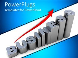 PowerPlugs: PowerPoint template with 3D graphics of text which spell out the word ' business' and a red arrow