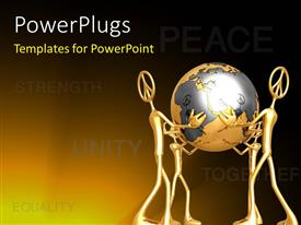 PowerPlugs: PowerPoint template with 3D graphics of three characters holding up a gold colored globe