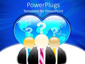 PowerPlugs: PowerPoint template with 3D graphics of three characters with question marks and globes over their heads