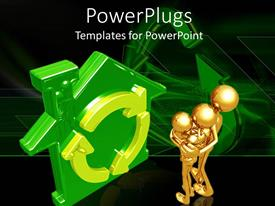 PowerPlugs: PowerPoint template with 3D graphics of three gold colored human characters hugging