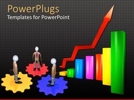 PowerPlugs: PowerPoint template with 3D graphics of three human character standing on gears and a multi colored chart