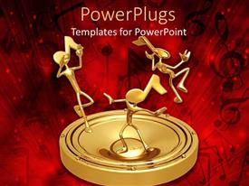 PowerPoint template displaying 3D graphics of three human characters with music note heads