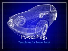 PowerPoint template displaying 3D graphics of a transparent blue colored car made of lines