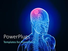 PowerPlugs: PowerPoint template with 3D graphics of a transparent man shinning in blue