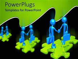 PowerPlugs: PowerPoint template with 3D graphics of two 3D human characters with brief cases standing on a puzzle piece