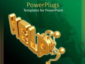 PowerPlugs: PowerPoint template with 3D graphics of two gold colored men on a text which spells out the word'help'