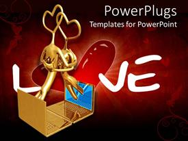 PowerPlugs: PowerPoint template with 3D graphics of two human characters with heart heads hugging