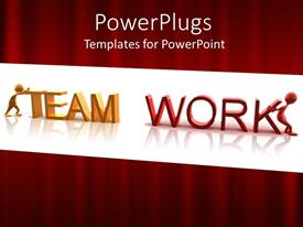 PowerPlugs: PowerPoint template with 3D graphics of two human characters pushing a text which spells out the words 'team work'