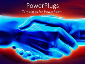 PowerPlugs: PowerPoint template with 3D graphics of two large blue hands having a handshake
