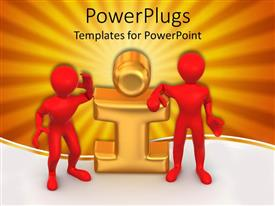 PowerPlugs: PowerPoint template with 3D graphics of two red colored human characters