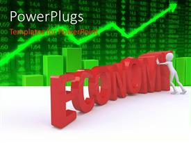 PowerPlugs: PowerPoint template with 3D graphics of a white character pushing a text that spells out the word ' economy'