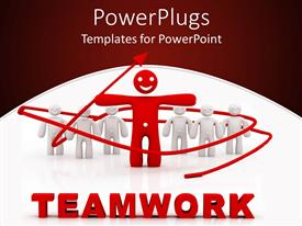 PowerPoint template displaying 3D graphics of white human characters standing behing a smiling red one