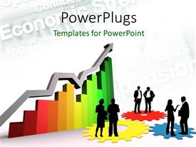 PowerPoint template displaying 3D graphs with business people standing on cogwheels and faded keywords