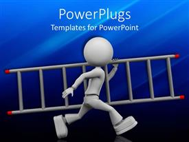PowerPlugs: PowerPoint template with 3D gray figure walking with stair in one arm on blue background