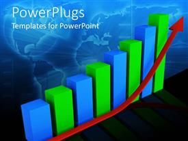 PowerPoint template displaying 3D green and blue graphic bars chart with red rising arrow and world map on background