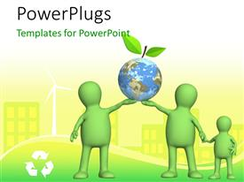 PowerPoint template displaying 3D green color human holding earth depicting protection of environment