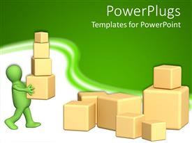 PowerPlugs: PowerPoint template with 3D green figure carying 3D boxes of various size and 3D boxes of different sizes on the ground on green and white background