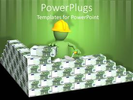 PowerPlugs: PowerPoint template with 3D green figure with yellow workers hard hat building with stacks of money bills