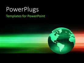 PowerPlugs: PowerPoint template with 3D green globe on an abstract motion background