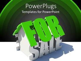 PowerPoint template displaying 3D green and white graphics with text which spells out the word