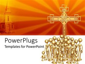 PowerPlugs: PowerPoint template with 3D group of golden figures with adults and children in front of big golden cross and depiction of church