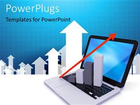 PowerPoint template displaying 3D growth chart sitting on laptop with red arrow