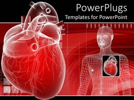 PowerPlugs: PowerPoint template with 3D heart depiction and digital human body representation with enlarged envisioning of human heard on red medical related background