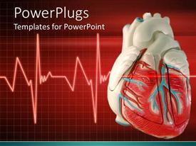 PowerPlugs: PowerPoint template with a 3D heart with an Eco cardiogram wave line