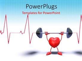 PowerPoint template displaying 3D heart symbol in weight lifting with heart pulse on white background
