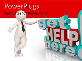 PowerPlugs: PowerPoint template with 3D get help here exclamation mark with 3D figure on white and red background