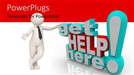 PowerPoint template displaying 3D get help here exclamation mark with 3D figure on white and red background