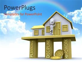 PowerPlugs: PowerPoint template with 3D house built on pillars of PLANNING, DISCIPLINE and Hard work