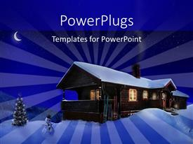 PowerPoint template displaying a 3D house with heavy snow under a night sky
