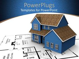 PowerPlugs: PowerPoint template with a 3D house on a white paper with a house blue print
