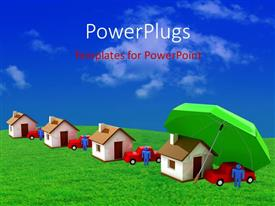 PowerPlugs: PowerPoint template with 3D houses, cars and man covered with green umbrella depicting insurance
