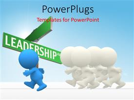 PowerPlugs: PowerPoint template with 3D human in blue ahead of whites winning the race with sign post in background