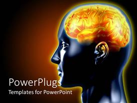 PowerPlugs: PowerPoint template with a 3D human brain in yelow color on a black background
