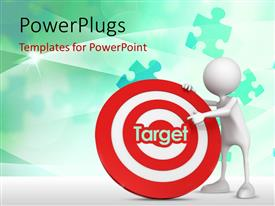 PowerPlugs: PowerPoint template with 3D human character asking to target in the center of a dartboard with green puzzles in the background