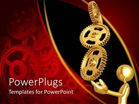 PowerPoint template displaying a 3D human character holding up three gold gears