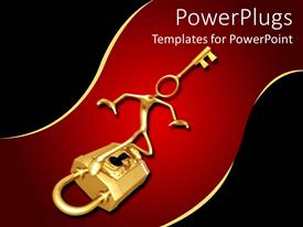 PowerPlugs: PowerPoint template with 3d human character with a key head standing on a padlock