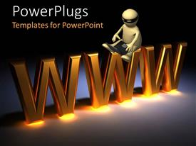 PowerPlugs: PowerPoint template with a 3d human character with an open laptop and a text with text which spells out the word'www'