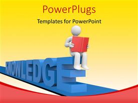 PowerPlugs: PowerPoint template with a 3D human character reading a red book on a text