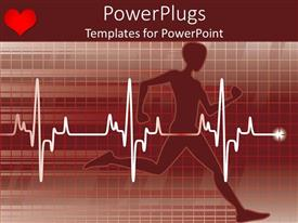 PowerPoint template displaying 3D human character running with a white cardiogram on it