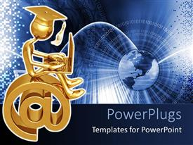 PowerPlugs: PowerPoint template with 3D human character sitting on a large gold colored @ symbol