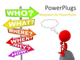 PowerPlugs: PowerPoint template with 3D human character sitting on stone and thinking with questions sign post and white color