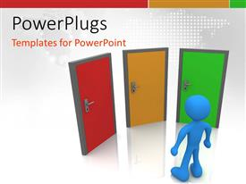 PowerPlugs: PowerPoint template with a 3D human character standing in front of three doors