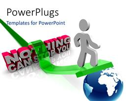 PowerPlugs: PowerPoint template with 3D human character standing on a green arrow on a globe