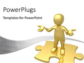 PowerPlugs: PowerPoint template with 3D human character standing on a puzzle with binary codes wave
