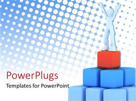 PowerPlugs: PowerPoint template with a 3D human character standing on a pyramid of blue and red cubes